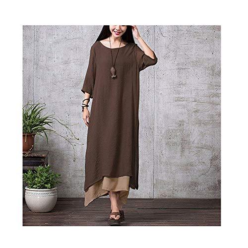 biaohe Dress Women Vintage Boho Retro Maxi Dress Irregular Bohemian Long Dresses Coffee 4XL]()