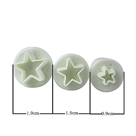 Luwu-Store Juego de 3 moldes para Galletas de Galletas con Forma de Estrella para