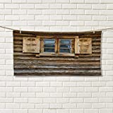 Shutters,Travel Towel,Windows with Shutters Patterned on The Wall of The Old Wooden House Cottage Print,100% Microfiber,Brown Beige Size: W 12'' x L 27.5''