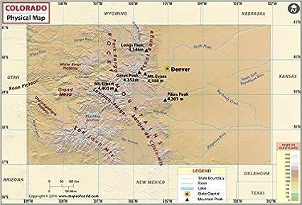 Colorado Physical Map Amazon.: Colorado Physical Map (36