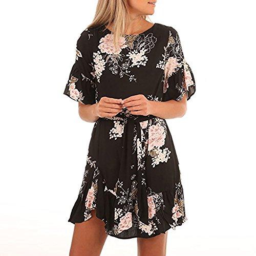 Black Beautiful Dress (Poptem Womens Sexy Mini Dress Floral Print Ruffle Tunic Top Casual Summer Midi Beach Sundress)