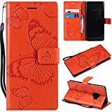 Samsung Galaxy S9 Case, Lomogo Leather Wallet Case with Kickstand Card Holder Shockproof Flip Case Cover for Samsung Galaxy S9 - LOKTU21666 Orange