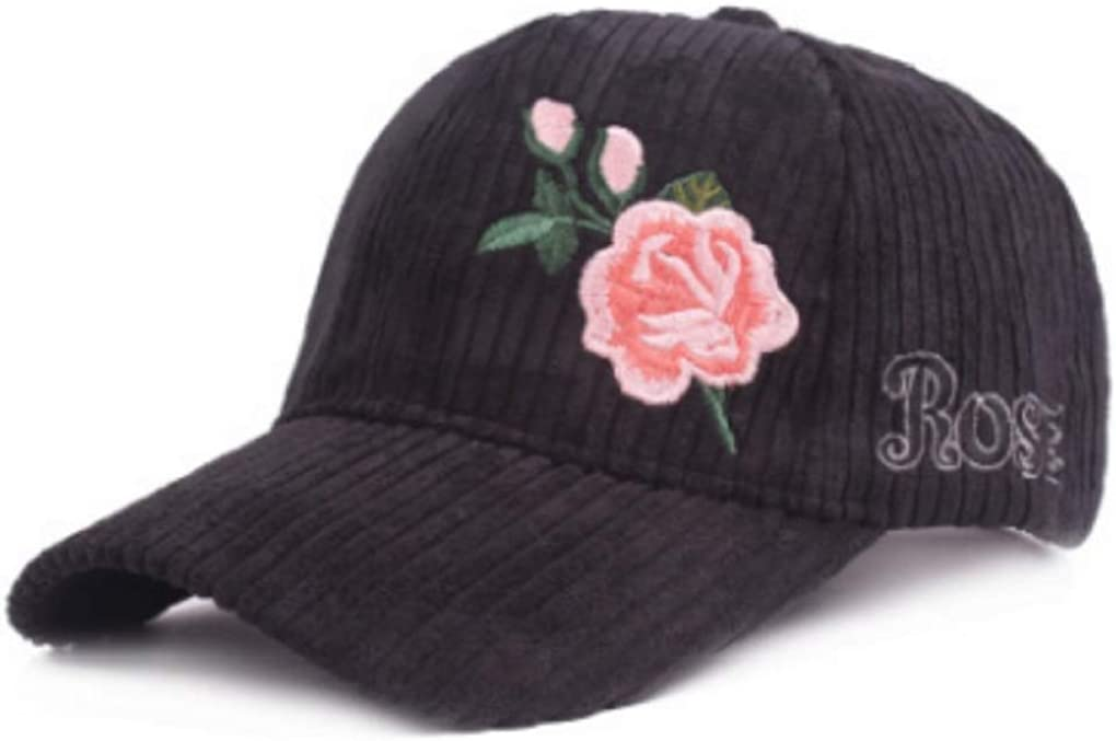 Fashion Embroidery Rose Winter Baseball Cap for Women Warm Striped Corduroy Hat Vintage Trucker Hat Bone