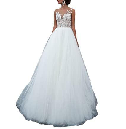 Fishlove 2017 Sexy Vestidos De Novia Sleeveless Illusion Sheer Lace Bridal Wedding Dresses W36 at Amazon Womens Clothing store: