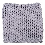 Sttech1 Chunky Knit Blanket, Sttech1 Arm Knit Blanket,Super Chunky Thick Bulky Throw Blanket,Handmade Extreme Knitting Crochet Blanket Rug for Family Bedding (Gray, M)