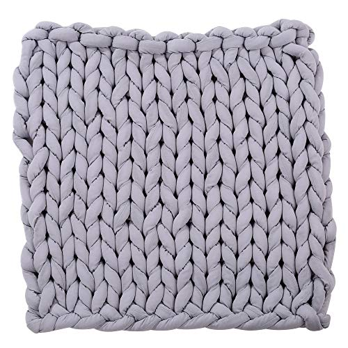 (Sttech1 Chunky Knit Blanket, Sttech1 Arm Knit Blanket,Super Chunky Thick Bulky Throw Blanket,Handmade Extreme Knitting Crochet Blanket Rug for Family Bedding (Gray, L))