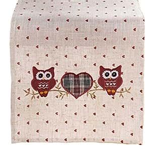 SIDCO® camino de mesa búho amor Mantel Mesa Mesa decorativa cinta camino de mesa Toalla 30 x 120 cm: Amazon.es: Hogar