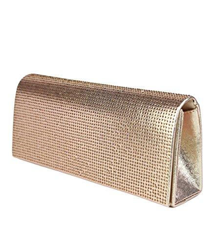 Schompi Bolso De Fiesta Tipo Clutch Para Mujer, Con Cadena De Hombro Desmontable Decorado Con Diamantes De Imitación, Varios Colores Dorado