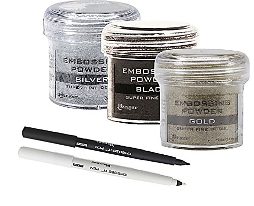 Embossing Kit - 3 Super Fine Embossing Powder with Two Inkssentials stays on ink Embossing Pen Black And Clear (Pen & Powder)