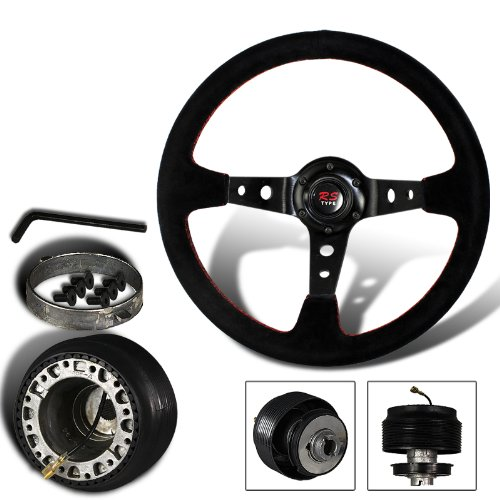 350mm 6 Hole Black Suede Leather Red Stitches Deep Dish Steering Wheel + Ford Mustang Hub Adapter