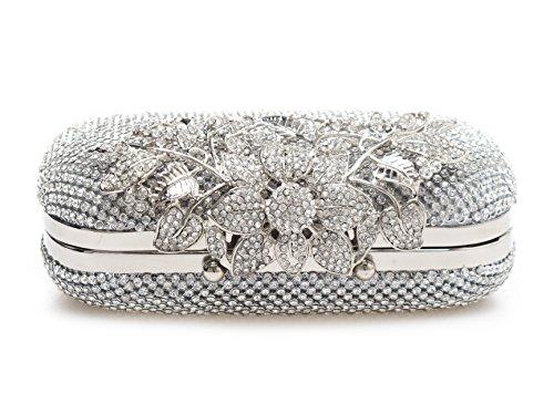 Unique Chiusura in argento diamante cristallo Diamante Diamante Sacchetto da sposa Wedding Party Fascia Prom