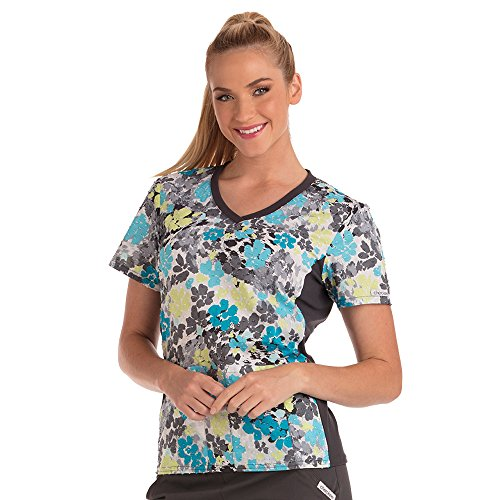 Cherokee Flexibles Uniforms Water Color Flower (POWF) Print Scrub Top, Pewter, (Cherokee Flexibles Dot)