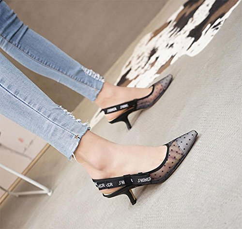 MEILI Sandalias femeninas con puntos finos ahuecados gray