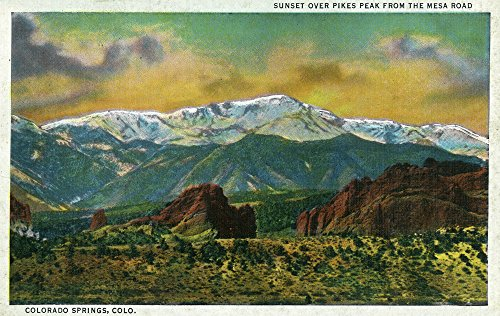 (Colorado Springs, CO - Sunset over Pikes Peak View from the Mesa Road (36x54 Giclee Gallery Print, Wall Decor Travel)
