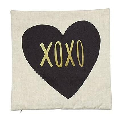 DealMux Piccocasa lino XOXO patrón en forma de corazón Cojín 45 x 45cm