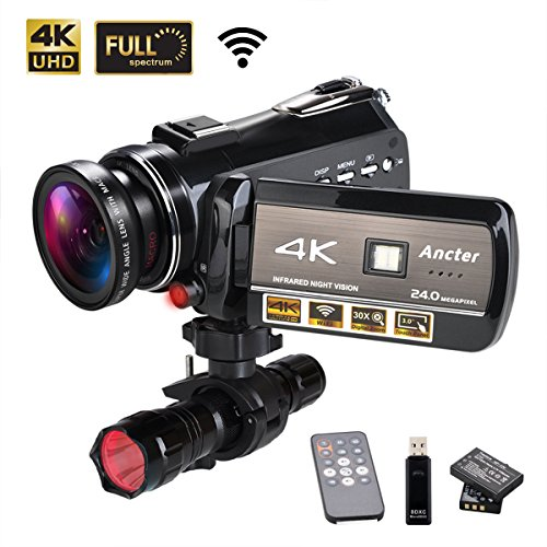 4K Wifi Full Spectrum Camcorders, Ultra HD Infrared Night Vision Paranormal Investigation Video Camera with 60fps 24MP 30X Digital Zoom – Ghost Hunting Camera(with 2 batteries, 32GB SD card included)