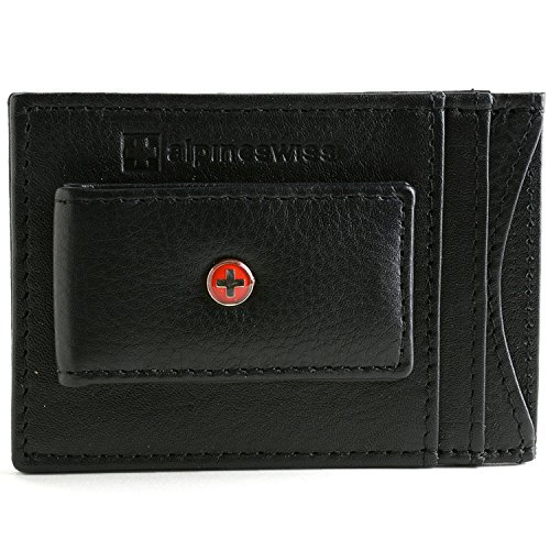 Alpine Swiss Mens Wallet Leather Money Clip Thin Slim Front Pocket Wallet
