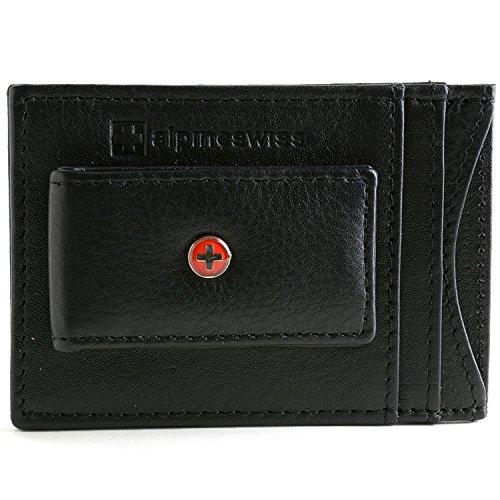Alpine Swiss Mens Wallet Leather Money Clip Thin Slim Front Pocket Wallet