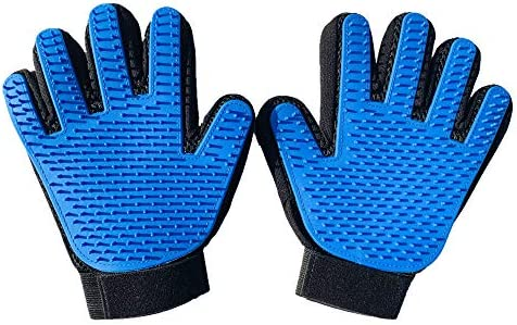 amololo Pet Grooming Glove - Gentle Deshedding Brush Glove - Bathing Massage Gloves Efficient Pet Hair Remover Mitt - Perfect for Dog & CatLong & Short 259 Silicone Grooming Tips- 1 Pair