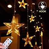 Quntis Christmas Window Curtain Lights - Decorative Fairy Lights with Remote - Warm White Dimmable String Lights - Star Backdrop Lighting for Outdoor Home Bedroom Garden Wedding Party