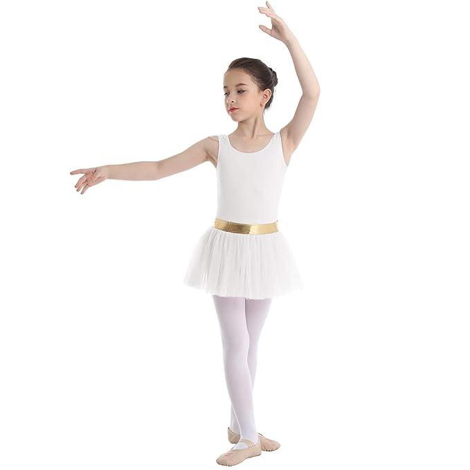 inlzdz Vestido de Ballet Niña Mailot de Patinaje Manga Corta ...