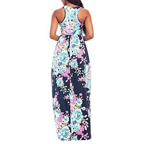 4bbde025309a2 KESEELY Women Floral Print Round Neck Sleeveless Long Maxi Casual Beach  Dress Floor Length Dress Dark Blue