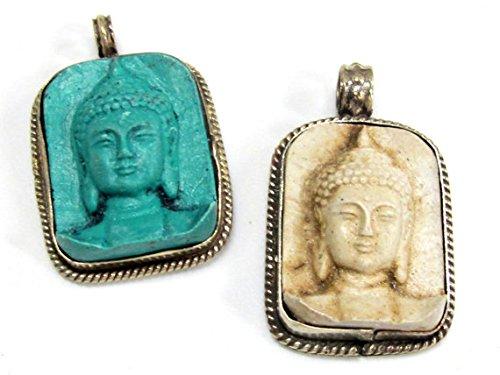 2 Pendants set - Tibetan green color and cream white color Buddha face pendants from Nepal - (Buddha Pendant Jewelry)
