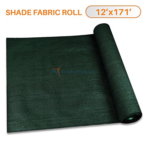 Sunshades Depot By Tang 12' x 171' Shade Cloth 180 GSM HDPE Dark Green Fabric Roll Up to 95% Blockage UV Resistant Mesh Net
