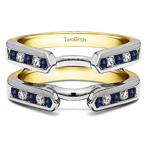 Sterling Silver Genuine Sapphire Channel Set Cathedral Ring Guard Diamonds G,I2 and Sapphire (0.2 ct.)