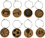 Cork Wine Glass Charms (20+ Unique Designs) - Set of 8 - Sports Themed Designs: Tennis, Baseball, Football, Volleyball, Bicycle, Soccer, Basketball, Golf - Cork Tags to Mark Your Drink (Sports)