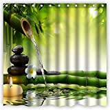 Atwtow Zen Bamboo with Flowing Water Bathroom Shower Curtain,72-Inch by 72-Inch,Feng Shui Art Candle Orchid Black Stones Unique and Generic Waterproof Polyester Fabric Decorative Bath Curtain Designs