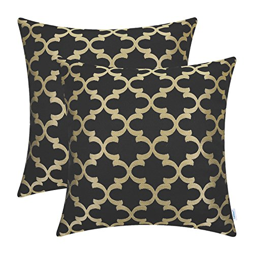 - CaliTime Pack of 2 Soft Throw Pillow Covers Cases for Couch Sofa Home Decoration Modern Quatrefoil Trellis Geometric 18 X 18 inches Black Gold