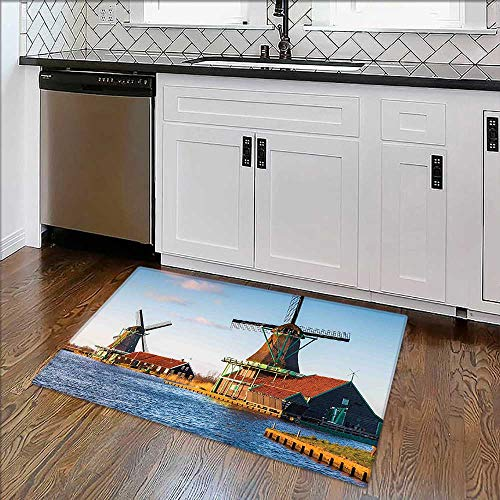 Foldable Thicken Rug Windmills on The Pond Harbor in Famous Netherlands Canal European Landmark Caramel Blue Maximum Absorbent Soft ()