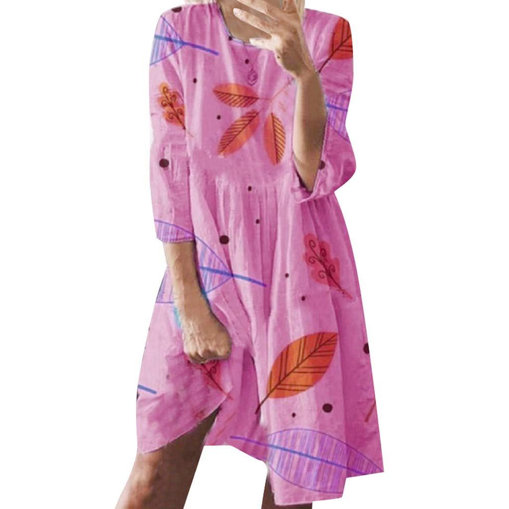 IEasⓄn Plus Size Women Dress Summer Fashion O Neck Leaves Print Loose Knee-Length Dress Mini Dress