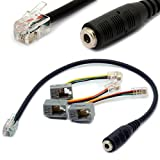 4P4C RJ9/RJ10 to 3.5mm Female Headset Adapter Cable Stereo Converter Telephone Cord for iPhone Cisco IP Phones 7931G 7940 7941 7942 Plantronics MX10 Vista Modular 30CM