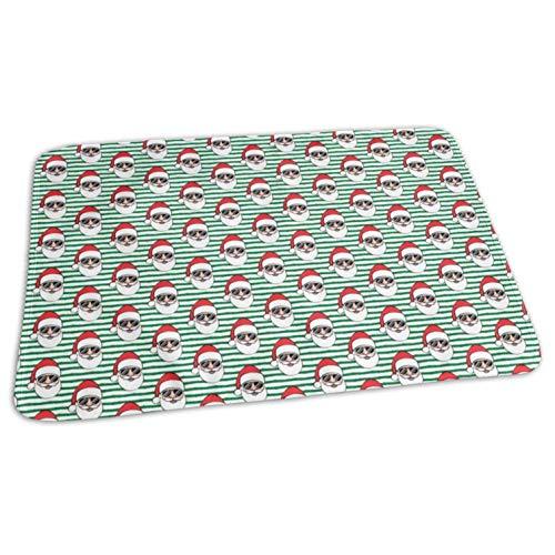 Santa Claus W Sunnies Green Stripes Christmas CBS_7079,Portable,Waterproof Urine Mat (275 x 19.7 Inch), 70 x 50 cm) - Baby Reusable Diaper Waterproof Changing Pad Portable (Santa Velvet Red Harness)