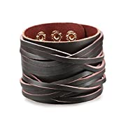 Amazon #LightningDeal 70% claimed: Besteel Jewelry Mens Leather Bracelet for Men Cuff Punk Rock Adjustable Brown Black 2 pcs 7-9 Inch