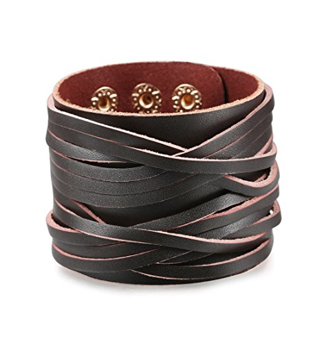 Amazon #LightningDeal 70% claimed: Besteel Jewelry Mens Leather Bracelet for Men Cuff Punk Rock Adjustable Brown Black 2 pcs 7-9 Inch