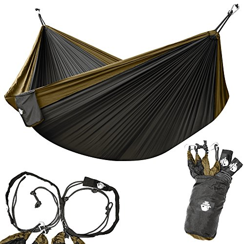 Legit Camping - Double Hammock - Lightweight Parachute Portable Hammocks for Hiking , Travel , Backpacking , Beach , Yard . Gear Includes Nylon Straps & Steel - Easy Return
