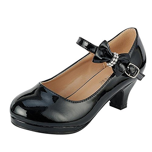 (Coshare Kid's Fashion Girl Patent Mary Jane Pumps Free Stickers Black 1)