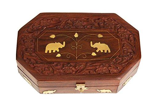(Khandekar Wooden Jewelry Box Organizer Keepsake Storage Chest Hand Carved with Elephant Brass Inlay for Women Jewel Box (8 X 5)