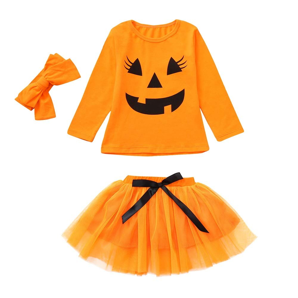 Kobay Halloween Baby Girls Skirt Set, Toddler Baby Girls Pumpkin Cartoon Print Long Sleeve Tops+Bow Skirt Outfit Set for 1-5 Years