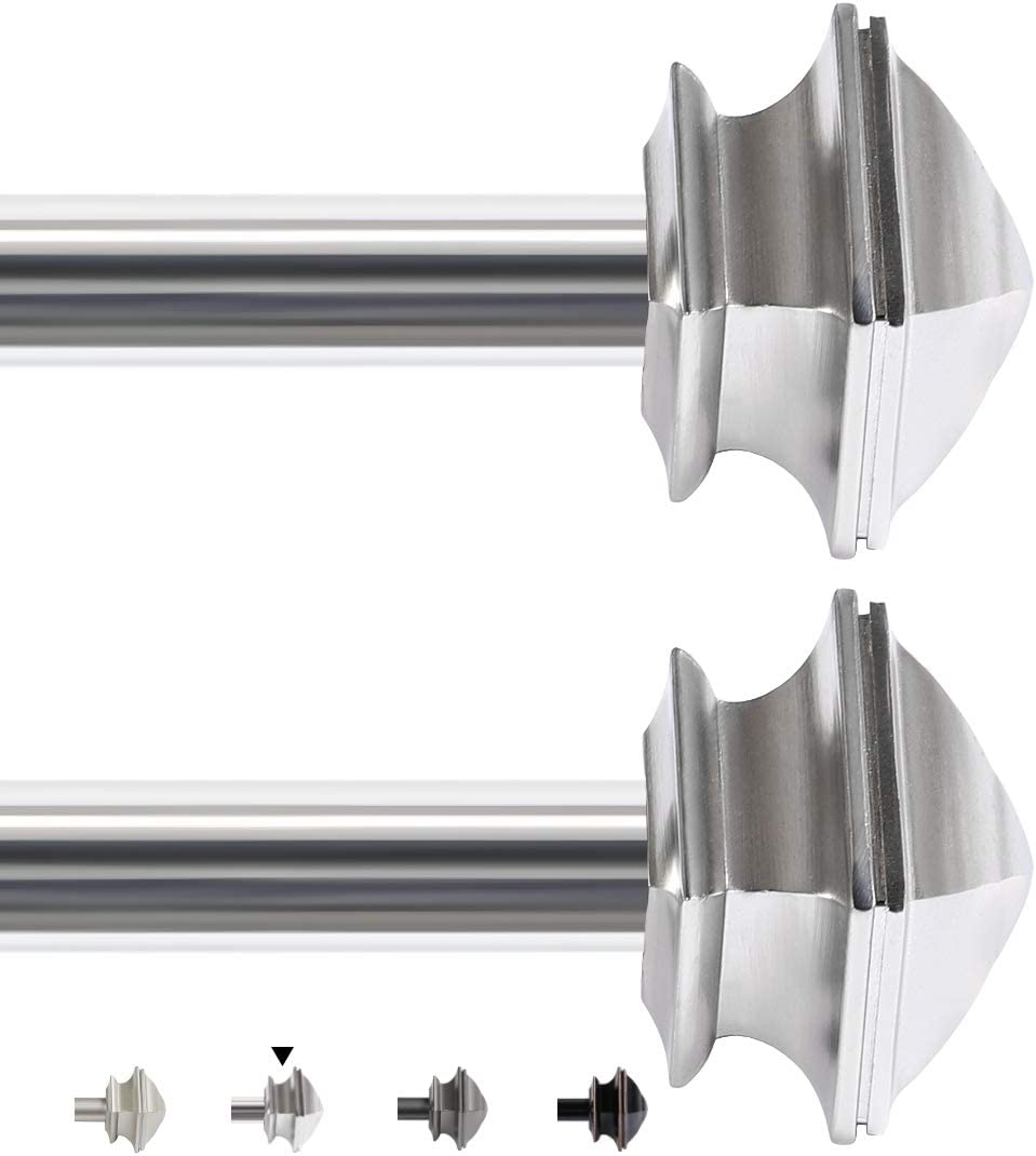 H.VERSAILTEX Window Curtain Rod Telescoping Single Drapery Rod Sets with Square Finials, Adjustable Length from 28 to 48-Inch, 5/8 Inch Diameter, 2 Pack, Chrome