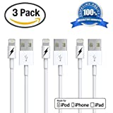 Certified iPhone 5 & 6 Charging Cable Lightning Cord - Genuine Authentication Chip Ensures Fastest Charge and Sync For Latest iPads iPods & IOS Devices (2x1 Meter/3.3 Feet)! 3 PACK