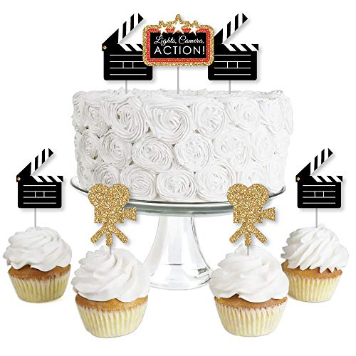 (Red Carpet Hollywood - Dessert Cupcake Toppers - Movie Night Party Clear Treat Picks - Set of)