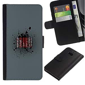 JackGot ( Barcode Sangre ) HTC One M8 la tarjeta de Crédito Slots PU Funda de cuero Monedero caso cubierta de piel