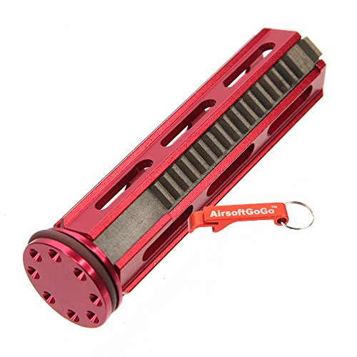 (AirsoftGoGo Army Force Aluminum Piston 18 Metal Teeth with Head for Airsoft AEG SVD,R85,L85,SR25 Gearbox (Red) Keychain Included )