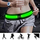 Bseen Led Running Belt USB Rechargeable Reflective Waist Pack High Visibility Fanny Pocket for Running, Camping, Walking, Cycling (Green) For Sale