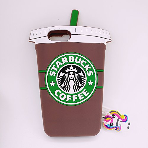 Case Character (Jinxtech Starbucks Shaped Adorable 3D Cute Cartoon Character Soft Rubber Silicone Case with a Strap for iPhone 7 Plus,iPhone 8 Plus (5.5 Inch)(Starbucks Brown 02))