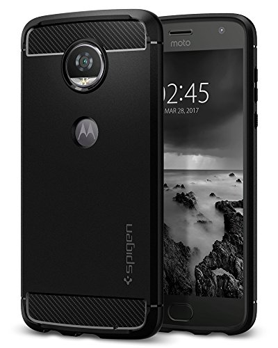 Spigen Rugged Armor Moto Z2 Play Case with Resilient Shock Absorption and Carbon Fiber Design for Moto Z2 Play - Black